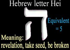 HEI the 5th. letter in the Hebrew alphabet. It is also spelled (HE, HAY or HEI). This letter appears twice in the full Name of God and, together with Yod, forms the Divine Name YAH. It also has the numeric value of 5. Hei reigns over Speech, rules over Aries and the month of Nissan, over the Right Foot in the soul of Male and Female. Hie is the point of Transformation, it transforms the energy and means WINDOW. It is the Transformer.