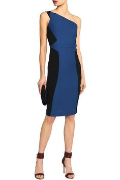 d4a40c3199cf One-shoulder cotton-piqué and crepe dress