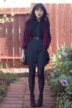 black & white polka dot dress with a burgundy cardigan Beautiful Outfits, Cute Outfits, White Polka Dot Dress, Polka Dots, Inspiration Mode, Fashion Inspiration, Modest Fashion, Women's Fashion, Tight Dresses