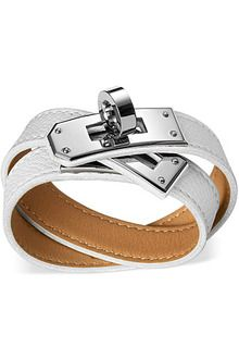 Kelly Double Tour Hermes leather bracelet (size M) White epsom calfskin<br /><br />Silver and palladium plated Kelly signature hardware, diameter, long, wide, circumference. Hermes Leather Bracelet, Hermes Jewelry, Leather Jewelry, Jewelry Box, Fashion Jewelry, Jewlery, Unique Jewelry, Women's Fashion, Bracelet Hermès