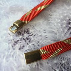 Japan Kumihimo Silk Bracelet-Sazanami Red and Gold-Double