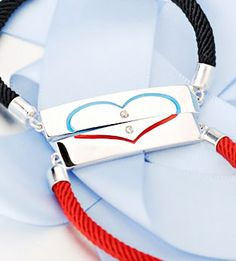 Matching Couple Heart Tag and Rope Bracelets Set ~ Love Gifts for Girlfriend @ iDream-Jewelry.Com