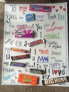 sweet welcome to your new home gift ideas. Fun and sweet candy board I made for my boyfriend our anniversary  Super cheap welcome home poster Google Search Jeff s Food