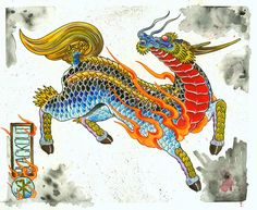 its a chinese unicorn and is made with watercolour and a little ...