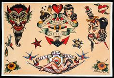 Sailor Jerry Flash Reproduction By Kptattooing Navy Tattoos, Sailor Tattoos, Arabic Tattoos, Tatoos, Dragon Tattoo Back Piece, Dragon Sleeve Tattoos, Traditional Tattoo Filler, Traditional Flash, Traditional Tattoos