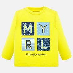 Camisola manga comprida MYRL bebé menino Baby Head, Boys T Shirts, A Boutique, Sweaters, Graphic Sweatshirt, Yellow, Sweatshirts, Long Sleeve, Shopping