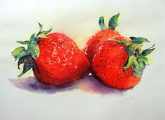 Strawberry original watercolor still life painting by rsharts, $70.00