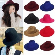 Women Ladies Jazz Vintage Wool Bowler Trilby Fedora Cap Wide Brim Cowboy Hat