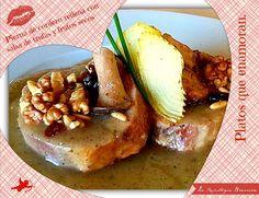 Pierna de cordero rellena con salsa de trufas y frutos secos.