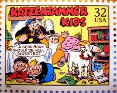The Katzenjammer Kids Stamp 1995 - Comic Strip Newspaper News Paper Sunday Funnies daily comics funny humor satire character syndicate - The Captain and the Kids Hans and Fritz Inspector Momma goat monkey shines shenanigans