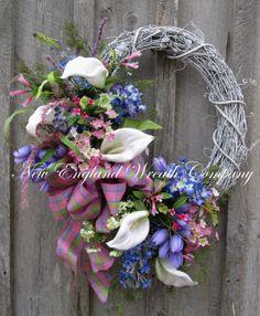 Spring Wreath Easter Wreath Floral Garden by NewEnglandWreath, $219.00