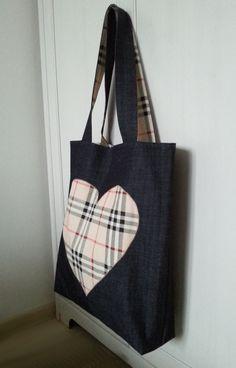 jeansowa torba z sercem