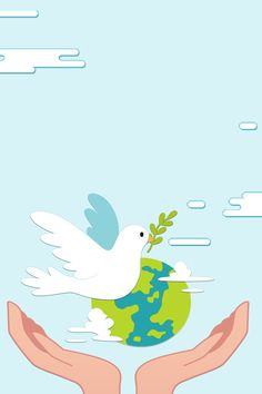 Cartoon Cartoon, Peace Pigeon, Banner Design, World Peace Day, Art Classroom Decor, Peace Poster, Save Planet Earth, Naruto Sketch, Fractal Images