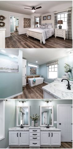 Stunning prefab home by Clayton. Features include large master suite, ample farmhouse features, spacious utility room, tray ceilings, and tile accents. #farmhouse #prafabhomes #mastersuite