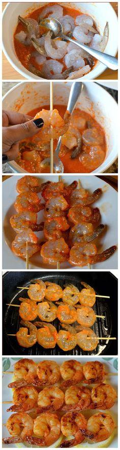 espetinho de camarão!