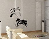 Game controller Modern Xbox Ps3 Games Kids Video Art Decals Wall Sticker Vinyl Wall Decal stickers living room bed Removable Mural 649. $49.00, via Etsy.