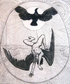 Icarus - Hans Thoma Hans Thoma, Icarus Fell, Hard Drawings, Pot Pourri, Caspar David Friedrich, Expressionist Artists, Step By Step Drawing, Van Gogh, Light In The Dark