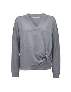 Tiger Of Sweden: Mada pullover - Women's v-neck pullover in lightweight wool-cotton blend. Features knotted detail at lower front. Ribbed trim at neckline and cuffs. Tiger Of Sweden, Knitwear, Cuffs, Neckline, V Neck, Pullover, Wool, Detail, Fit