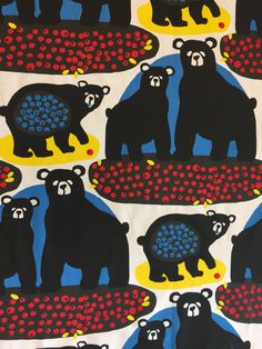 Tablecloth with black bears and blueberries Scandinavian