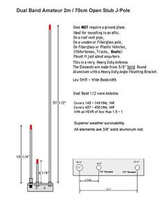 I've constructed a 144/440 Dual band Open Stub J-Pole ...