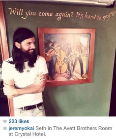 Seth in The Avett Brothers room at the Crystal Hotel in Portland, Oregon (I think I have to visit)