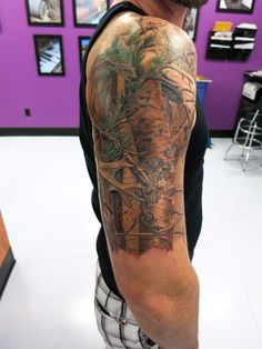 Tattoo for Brad: Realtree camo hd tattoo; could put the girls names in the branches.