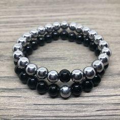 Black and Platinum Hematite Gemstone Beads. Couple Bracelets, Bracelets For Men, Fashion Bracelets, Fashion Jewelry, Bracelet Crafts, Bracelet Set, Bracelet Making, Long Distance Bracelets, Bracelets With Meaning