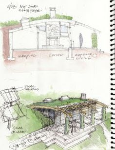 designcultivation: An Earth Sheltered Net Zero House Sketch, an unbuilt project Earth Sheltered Homes, Sheltered Housing, Green Architecture, Sustainable Architecture, Green Building, Building A House, Earthship Home, House Sketch, Underground Homes
