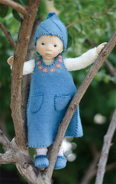 Girl In Blue Felt Dress DJ003 by Elisabeth Pongratz