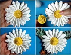 Crochet Chamomile Flower Step By Step Crochet Rabbit, Crochet Teddy, Crochet Sunflower, Crochet Flowers, Easter Crochet Patterns, Flower Patterns, Crochet Towel Topper, Daisy, Popular Crochet
