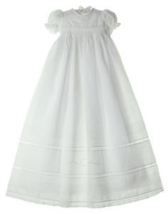 NEW Will'Beth White Linen Smocked Christening Gown with Pintucks, Embroidery, and Seed Pearls $175.00