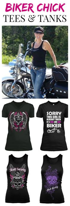 Sexy, sassy, and classy beautiful t-shirts for women who ride motorcycles. Biker chicks are the best! Be fashionable and comfortable while you ride, shop Skull Society biker t-shirts and tank tops for ladies.