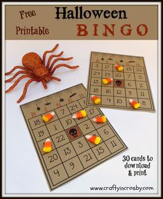 Free Printable Halloween Bingo Game with 30 cards, call sheet and numbers. Maybe change center pic for a Fall Festival. Vintage Carnival Games, Halloween Carnival Games, Halloween Class Party, Halloween Party Games, Halloween Activities, Halloween Kids, Halloween Crafts, Carnival Ideas, Halloween Entryway
