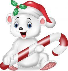 Cute baby polar bear holding Christmas candy vector image on VectorStock Baby Polar Bears, Cute Teddy Bears, Cute Lion, Cute Sheep, Felt Animal Patterns, Stuffed Animal Patterns, Teddy Bear Tattoos, Drawing School, Cartoon Fish
