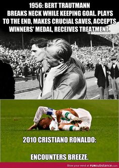 Soccer - 1956 vs 2010 Ugh it bothers me sooo much when they do that! It's a soccer game, not drama class!