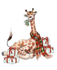 My giraffe is all festive and dressed up for The Next Step Realty Christmas card christmasanimals Giraffe Decor, Giraffe Art, Cute Giraffe, Illustration Noel, Christmas Illustration, Illustrations, Diy Christmas Cards, Christmas Love, Xmas