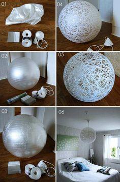 DIY Bola de barbante para decoração