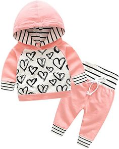 Amazon.com: Top and Top 2Pcs Newborn Baby Girls Graffiti Heart Tops Hoodies Pants Outfits Clothes (90/12-18 Months): Clothing