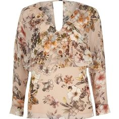 River Island Floral long sleeve cape top ($64) via Polyvore featuring tops, blouses, women, flower print tops, river island, floral print tops, floral tops and beige top