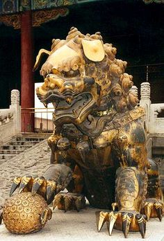 Rui Shi or Imperial guardian lion, traditionally known in Chinese simply as Shi are a common representation of the lion in pre-modern China. Statues of guardian lions have traditionally stood in front of Chinese Imperial palaces, Imperial tombs, government offices, temples, and the homes of government officials and the wealthy, from the Han Dynasty, and were believed to have powerful mythic protective benefits.