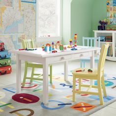Kids Playroom - activity table love the different colored chairs