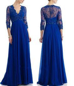 Royal Blue A-Line Lace Chiffon Long Sleeves V-Neck