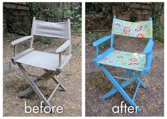 A favorite makeover project. Started with a Pier 1 director chair that had been left out in the rain and gotten mildewy. Sanded, primed, painted and replaced with outdoor fabric for a super cute patio chair ready for the elements.