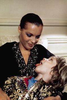 Austrian born actress Romy Schneider with her son David Meyen at home in France in 1974