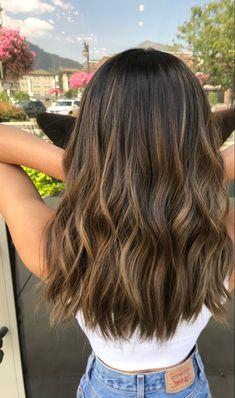 Brown Hair With Blonde Highlights, Brown Hair Balayage, Balayage Brunette, Hair Color Balayage, Brunette Hair, Hair Highlights, Bayalage Black Hair, Brown Highlights On Black Hair, Fall Balayage