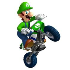 "Luigi on Motorcycle... Wall Graphic-Decal-Decor-Sticker 36"" by FatCat Wall Graphics, http://www.amazon.com/dp/B004Z1PW9E/ref=cm_sw_r_pi_dp_8C2Bqb0Q15YPN"