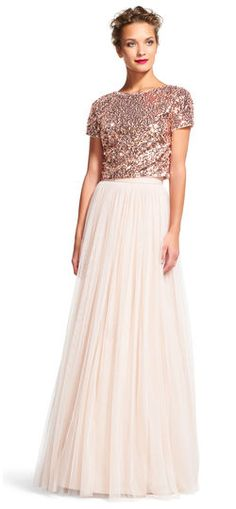 Adrianna Papell | Short Sleeve Sequin Dress Set with Chiffon Skirt