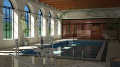 AutoCAD+3ds MAX+ VRay, auto cad inspiration, pool, pool house, autodesk