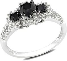 http://www.shopstyle.com: 1 Carat Black & White Diamond 3-Stone 14K White Gold Engagement Ring w/ Black Rhodium