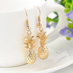 Mode femmes plaqué or Drangles boucles d'oreilles déclaration ananas Charms boucles d'oreilles bijoux livraison gratuite